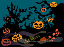 Illustration of Halloween. Picture with the castle and pumpkins. Happy Holidays. Stock Photo