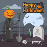 Illustration Halloween pumpkin holding a shovel and smiling Stock Image