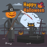 Illustration Halloween pumpkin with scythe and cat Stock Images