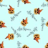 Illustration of Halloween. Seamless pattern with festive decorations. Festive pumpkin. Stock Photography