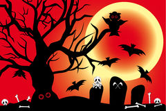 Illustration for Halloween with spooky design elem Royalty Free Stock Photos