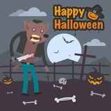 Illustration Halloween werewolf holding knife Stock Photo