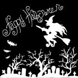 Illustration of Halloween. Witch flying over the cemetery. Royalty Free Stock Photography