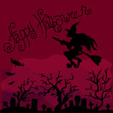 Illustration of Halloween. Witch flying over the cemetery. Happy Holidays. Royalty Free Stock Photo