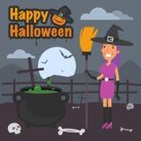 Illustration Halloween witch holding broom Stock Photos