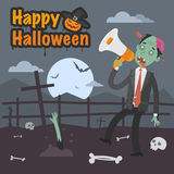 Illustration Halloween zombie holding megaphone Royalty Free Stock Photography