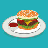 Illustration of  hamburger on a plate Royalty Free Stock Image
