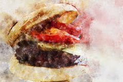 Watercolor Hamburger Design for Creative Projects vector illustration