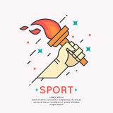 Illustration Hand with a burning torch for sports Stock Images