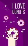 Illustration with hand and donuts. Thin line flat design card. Vector banner Royalty Free Stock Images