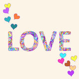 Illustration with hand-drawing bright motley colored love word and hearts for use in design for valentines day or wedding card Royalty Free Stock Photography