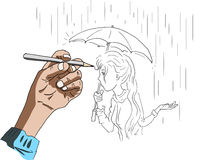 An illustration of a hand drawing of a girl Stock Photography