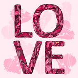 Illustration with hand-drawing love word for use in design for valentines day or wedding greeting card Royalty Free Stock Photo