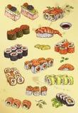 Illustration of hand drawing set of sushi Stock Photos