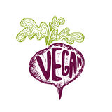 Illustration of hand drawn beetroot  text vegan. Vector Stock Photo