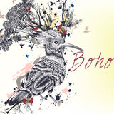 Illustration with hand drawn bird, flowers, butterflies and bran. Art boho illustration with hand drawn bird, flowers, butterflies and branches. Ideal for T Royalty Free Stock Photography