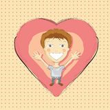 Illustration of hand drawn boy with pink heart Royalty Free Stock Images