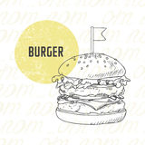 Illustration of hand drawn burger in black and white Stock Photography