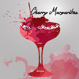 Illustration with hand drawn cherry Margarita cocktail Royalty Free Stock Image