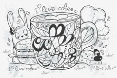 Illustration of a hand-drawn coffee doodle Royalty Free Stock Photo