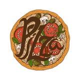 Illustration hand drawn delicious pizza  tomatoes, mozzarella. Illustration hand drawn delicious pizza with tomatoes, mozzarella, champignons,oregano,pepper Stock Photo