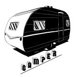 Illustration of  Hand Drawn, doodle Camper Royalty Free Stock Photos