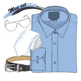 illustration of Hand drawn, doodle coordination shirt, tie Royalty Free Stock Images