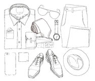 Illustration of Hand drawn and doodle of top view, flat lay coordination folded shirt, tie, trousers, shoes, spectacles Royalty Free Stock Photos