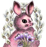 Hand-drawn Easter Bunny in a circle of twigs of flowering willow and a bouquet of crocuses. Illustration for holiday stock illustration