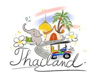 Illustration of hand drawn elements for traveling to Thailand. stock illustration