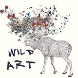 Illustration with hand drawn elk, flowers in it horns Royalty Free Stock Image