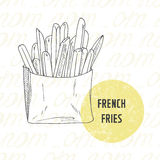 Illustration of hand drawn french fries potato Royalty Free Stock Photography