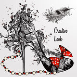 Illustration with hand drawn girls  shoe and feather in floral  Stock Images