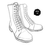 Illustration of hand drawn graphic Men and women Footwear, shoes. Shoe for casual and sport style, gumshoes, boots for Stock Images
