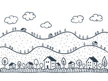 Houses doodles seamless pattern royalty free illustration