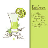 Illustration with hand drawn Kamikaze cocktail Royalty Free Stock Photos