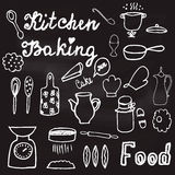 Illustration with hand-drawn kitchenware and foods on the chalkboard Royalty Free Stock Photos