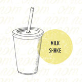 Illustration of hand drawn milk shake in paper cup with stick Stock Photography