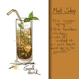 Illustration with hand drawn Mint Julep cocktail Royalty Free Stock Photo