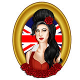 Illustration - Hand drawn portrait of singer Amy Winehouse Royalty Free Stock Photography