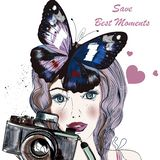 Illustration with hand drawn pretty blue eyed girl holding a vintage camera stock photography