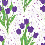 Purple Tulip Seamless Pattern_eps. Illustration of hand drawn purple tulip with love and romantic feeling seamless pattern Royalty Free Stock Photography
