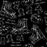 Illustration of hand drawn seamless pattern Roller Skates, rolle Royalty Free Stock Image