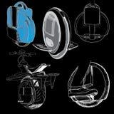 Illustration of Hand Drawn Set of Balancing one wheel electric u Stock Images