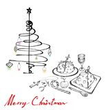 Christmas Dinner with Pudding, Wine and Dessert. Illustration Hand Drawn Sketch of Christmas Pudding with Apple, Wine and Candy Cane on A Table for Thanksgiving Stock Photos