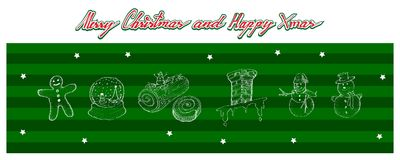 Hand Drawn Set of Lovely Merry Christmas Items. Illustration Hand Drawn Sketch Collection of Christmas Elements and Decorations Items of Gingerbread Man Cookies Royalty Free Stock Photo