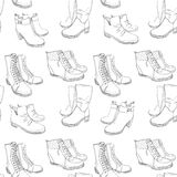 Illustration of Hand drawn sketch seamless pattern of Shoes . Sneakers, boots, high shoe, snow boots. for casual female. Vector illustration of Hand drawn sketch Stock Image