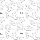 Illustration of Hand drawn sketch seamless pattern of Shoes . Sneakers, boots, high shoe, snow boots. for casual female. Vector illustration of Hand drawn sketch Stock Photos