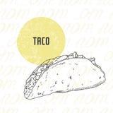Illustration of hand drawn taco Stock Image
