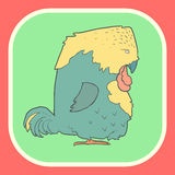 Illustration hand drawn vector retro cartoon bird Stock Image